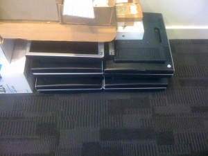 The monitors stack much easyer with the stands removed