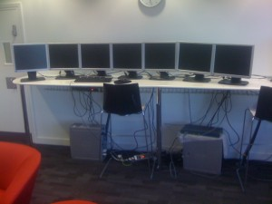 Prototype setup, the first lot of monitors to be disasembled